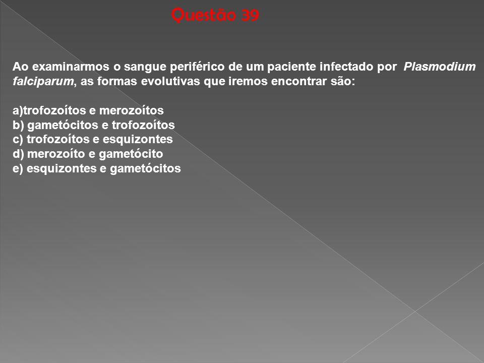 Questão 39 Ao examinarmos o sangue periférico de um paciente infectado por Plasmodium falciparum, as formas evolutivas que iremos encontrar são: a)tro