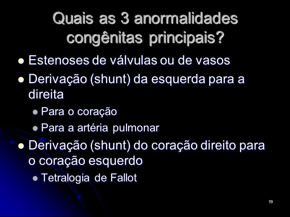 19 Quais as 3 anormalidades congênitas principais? Estenoses de válvulas ou de vasos Estenoses de válvulas ou de vasos Derivação (shunt) da esquerda p