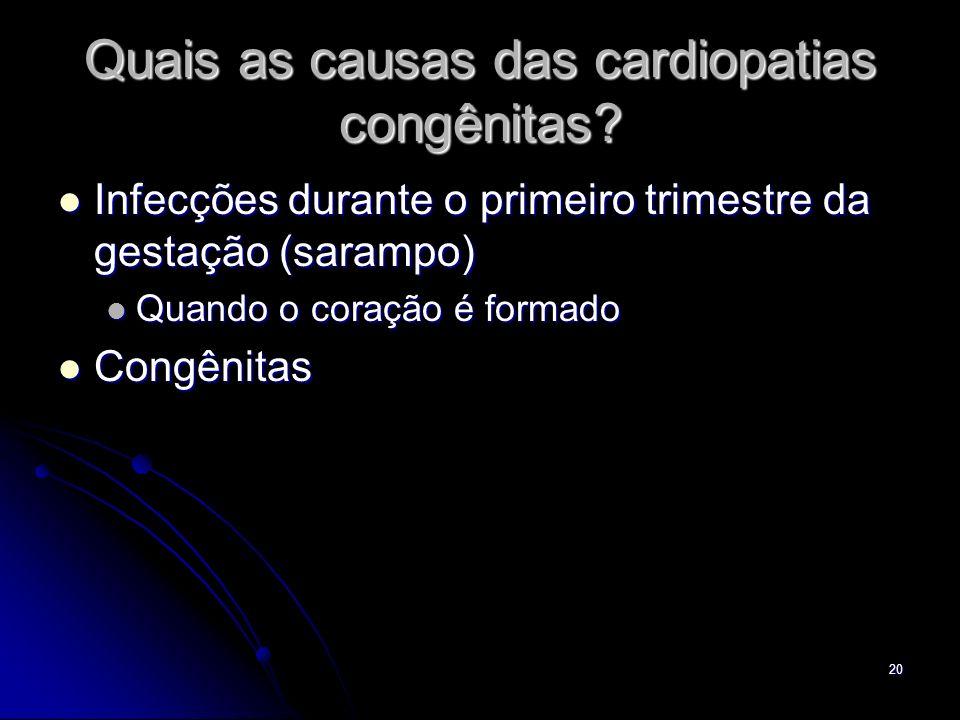20 Quais as causas das cardiopatias congênitas? Infecções durante o primeiro trimestre da gestação (sarampo) Infecções durante o primeiro trimestre da