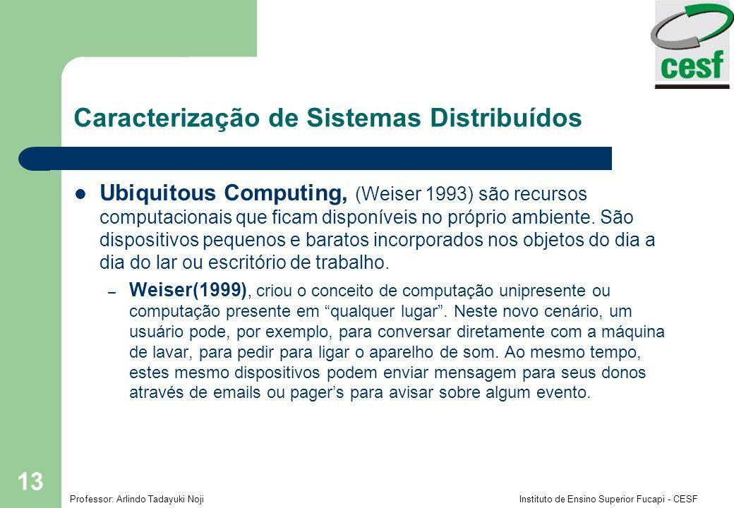 Professor: Arlindo Tadayuki Noji Instituto de Ensino Superior Fucapi - CESF 13 Ubiquitous Computing, (Weiser 1993) são recursos computacionais que fic