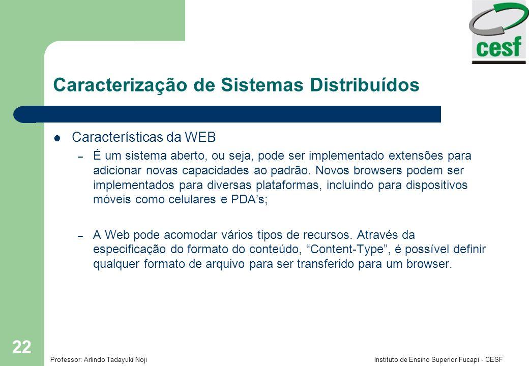 Professor: Arlindo Tadayuki Noji Instituto de Ensino Superior Fucapi - CESF 23 Web server/client Caracterização de Sistemas Distribuídos Internet Browsers Web servers www.google.com www.cdk3.net www.w3c.org Protocols Activity.html http://www.w3c.org/Protocols/Activity.html http://www.google.comlsearch?q=kindberg http://www.cdk3.net/ File system of www.w3c.org