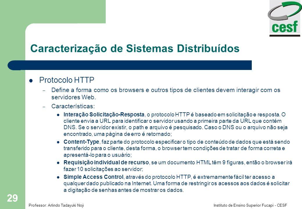 Professor: Arlindo Tadayuki Noji Instituto de Ensino Superior Fucapi - CESF 29 Protocolo HTTP – Define a forma como os browsers e outros tipos de clie
