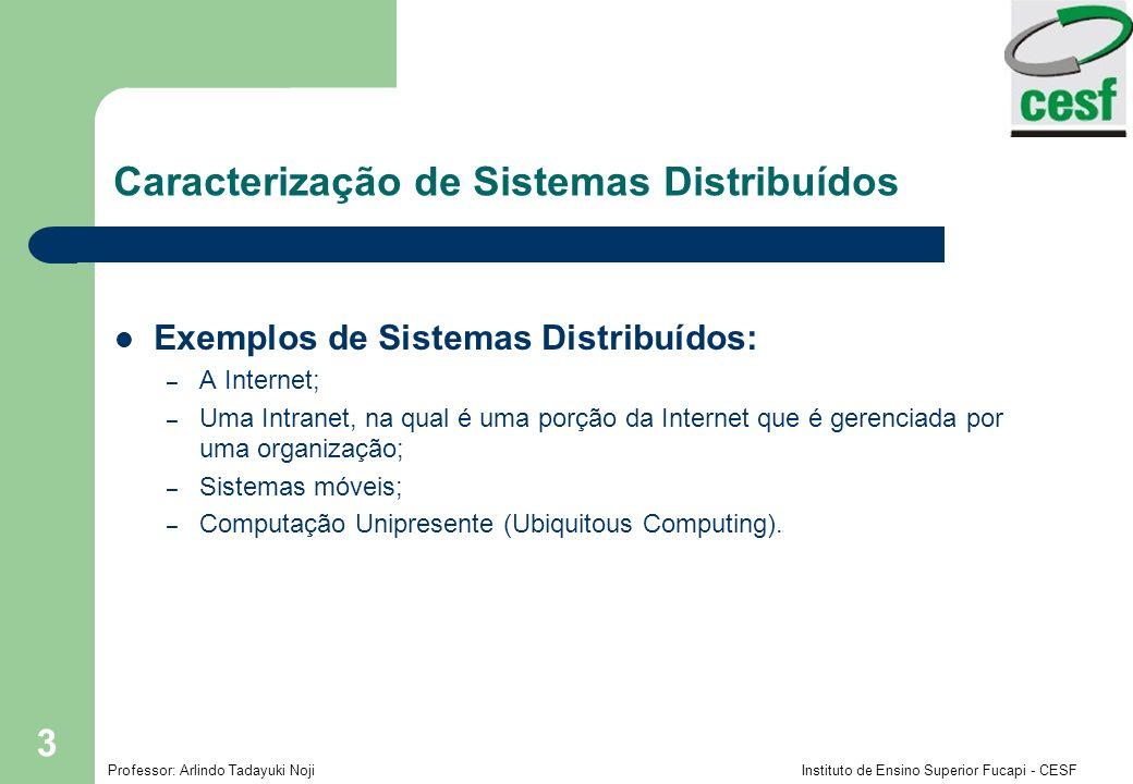 Professor: Arlindo Tadayuki Noji Instituto de Ensino Superior Fucapi - CESF 3 Exemplos de Sistemas Distribuídos: – A Internet; – Uma Intranet, na qual