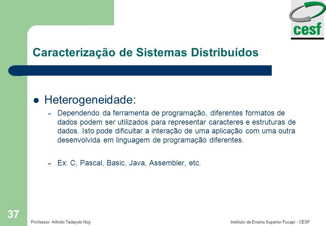Professor: Arlindo Tadayuki Noji Instituto de Ensino Superior Fucapi - CESF 37 Caracterização de Sistemas Distribuídos Heterogeneidade: – Dependendo d