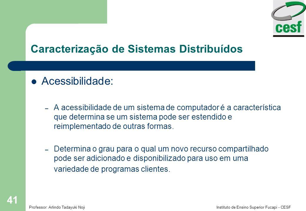 Professor: Arlindo Tadayuki Noji Instituto de Ensino Superior Fucapi - CESF 41 Caracterização de Sistemas Distribuídos Acessibilidade: – A acessibilid
