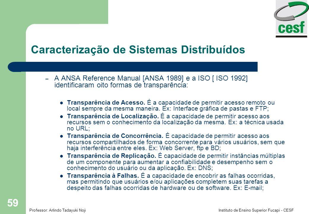 Professor: Arlindo Tadayuki Noji Instituto de Ensino Superior Fucapi - CESF 59 Caracterização de Sistemas Distribuídos – A ANSA Reference Manual [ANSA