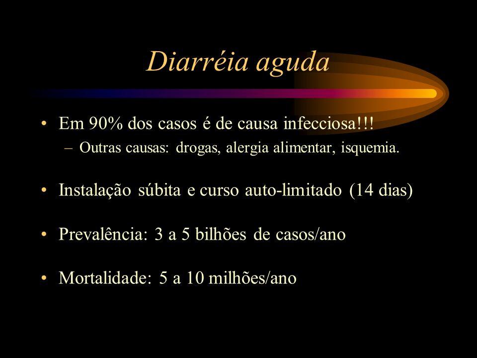 Em 90% dos casos é de causa infecciosa!!! –Outras causas: drogas, alergia alimentar, isquemia. Instalação súbita e curso auto-limitado (14 dias) Preva