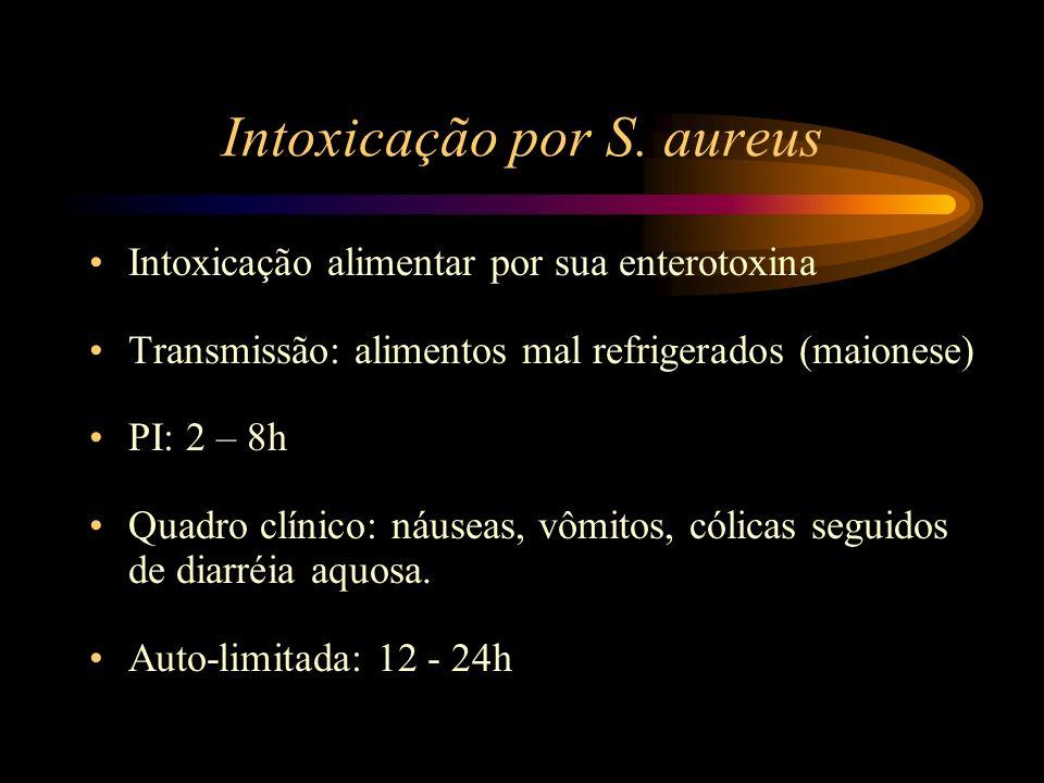 Intoxicação por S. aureus Intoxicação alimentar por sua enterotoxina Transmissão: alimentos mal refrigerados (maionese) PI: 2 – 8h Quadro clínico: náu