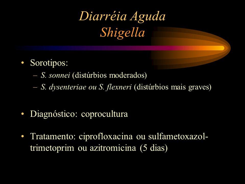 Diarréia Aguda Shigella Sorotipos: –S. sonnei (distúrbios moderados) –S. dysenteriae ou S. flexneri (distúrbios mais graves) Diagnóstico: coprocultura