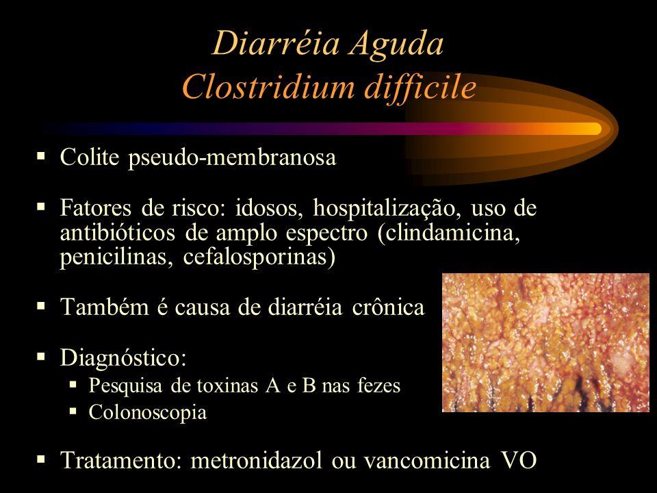 Diarréia Aguda Clostridium difficile Colite pseudo-membranosa Fatores de risco: idosos, hospitalização, uso de antibióticos de amplo espectro (clindam