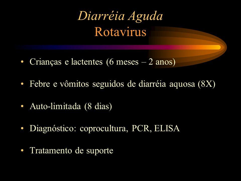 Diarréia Aguda Rotavirus Crianças e lactentes (6 meses – 2 anos) Febre e vômitos seguidos de diarréia aquosa (8X) Auto-limitada (8 dias) Diagnóstico: