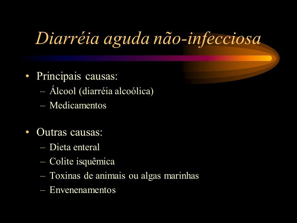Diarréia aguda não-infecciosa Principais causas: –Álcool (diarréia alcoólica) –Medicamentos Outras causas: –Dieta enteral –Colite isquêmica –Toxinas d