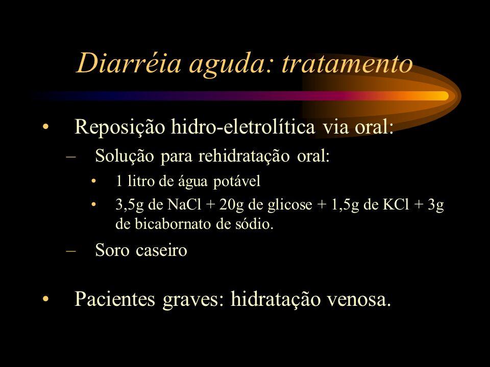 Diarréia aguda: tratamento Reposição hidro-eletrolítica via oral: –Solução para rehidratação oral: 1 litro de água potável 3,5g de NaCl + 20g de glico