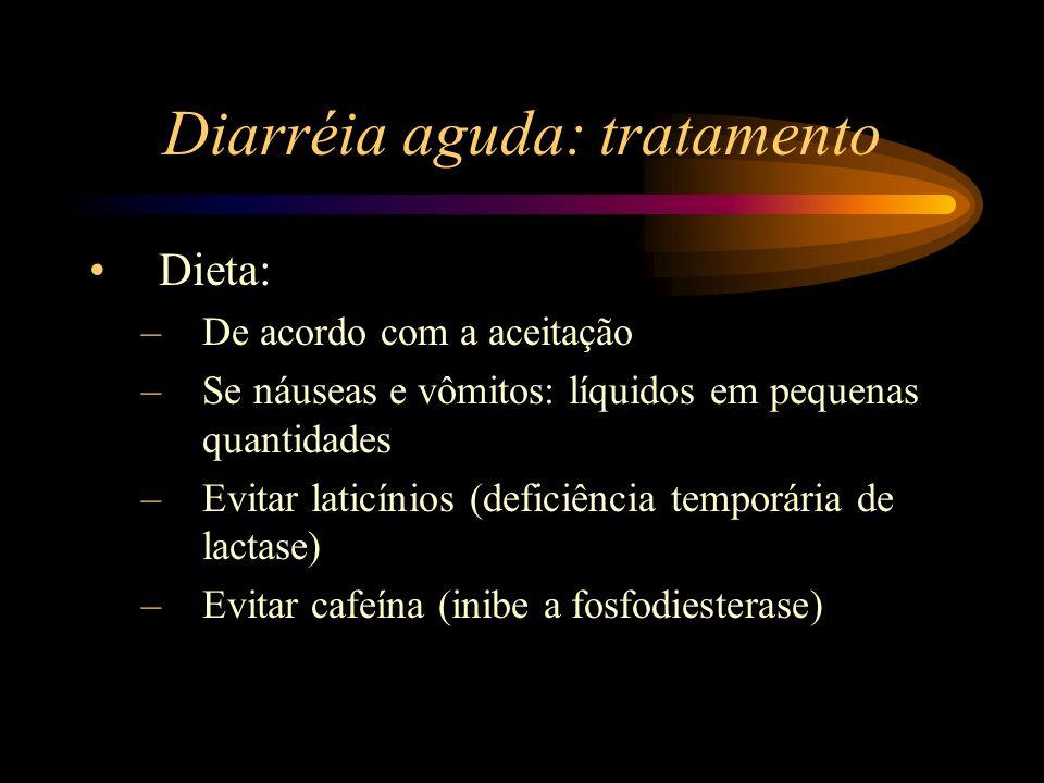 Diarréia aguda: tratamento Dieta: –De acordo com a aceitação –Se náuseas e vômitos: líquidos em pequenas quantidades –Evitar laticínios (deficiência t