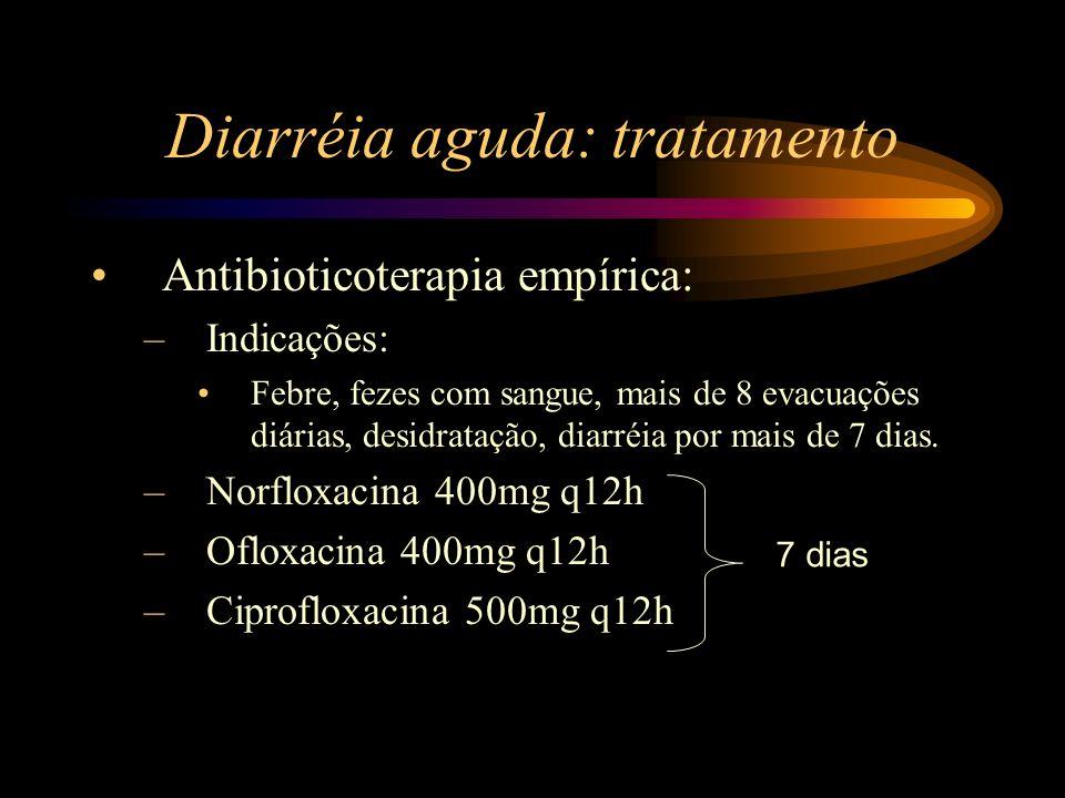 Diarréia aguda: tratamento Antibioticoterapia empírica: –Indicações: Febre, fezes com sangue, mais de 8 evacuações diárias, desidratação, diarréia por
