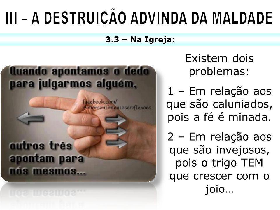 3.3 – Na Igreja: Existem dois problemas: 1 – Em relação aos que são caluniados, pois a fé é minada. 2 – Em relação aos que são invejosos, pois o trigo