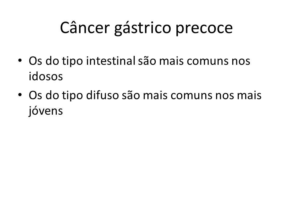 Câncer gástrico precoce Os do tipo intestinal são mais comuns nos idosos Os do tipo difuso são mais comuns nos mais jóvens