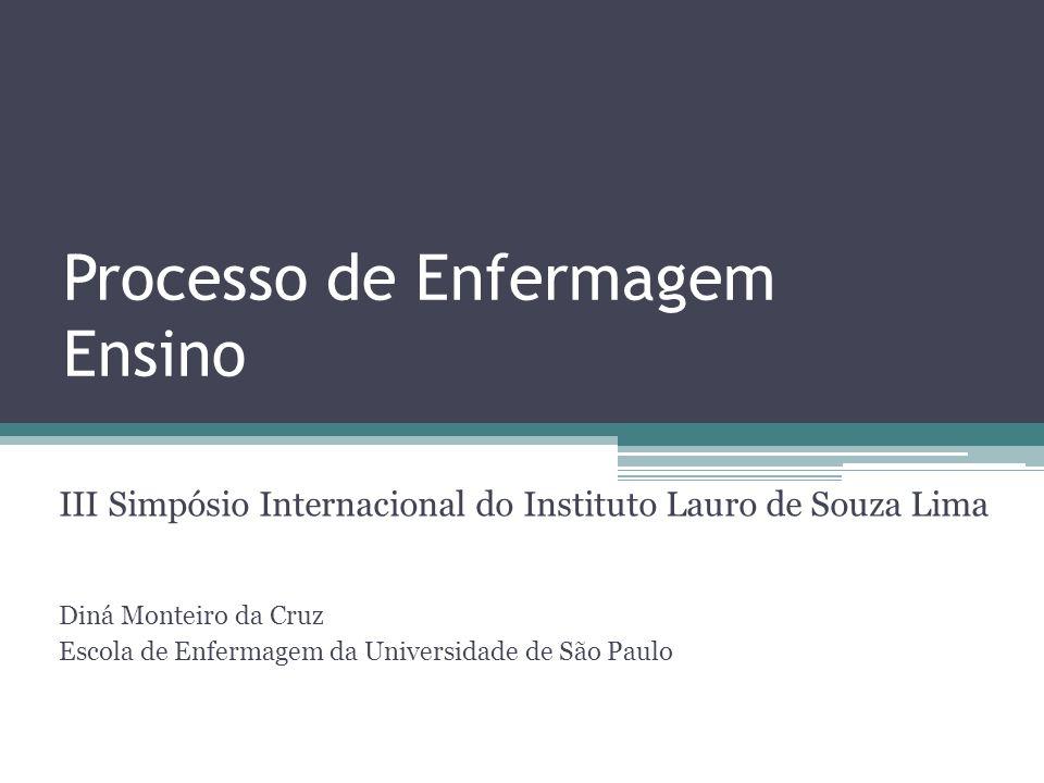 Processo de Enfermagem Ensino III Simpósio Internacional do Instituto Lauro de Souza Lima Diná Monteiro da Cruz Escola de Enfermagem da Universidade d
