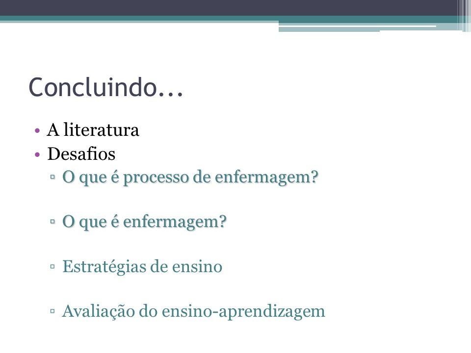 Concluindo... A literatura Desafios O que é processo de enfermagem?O que é processo de enfermagem? O que é enfermagem?O que é enfermagem? Estratégias