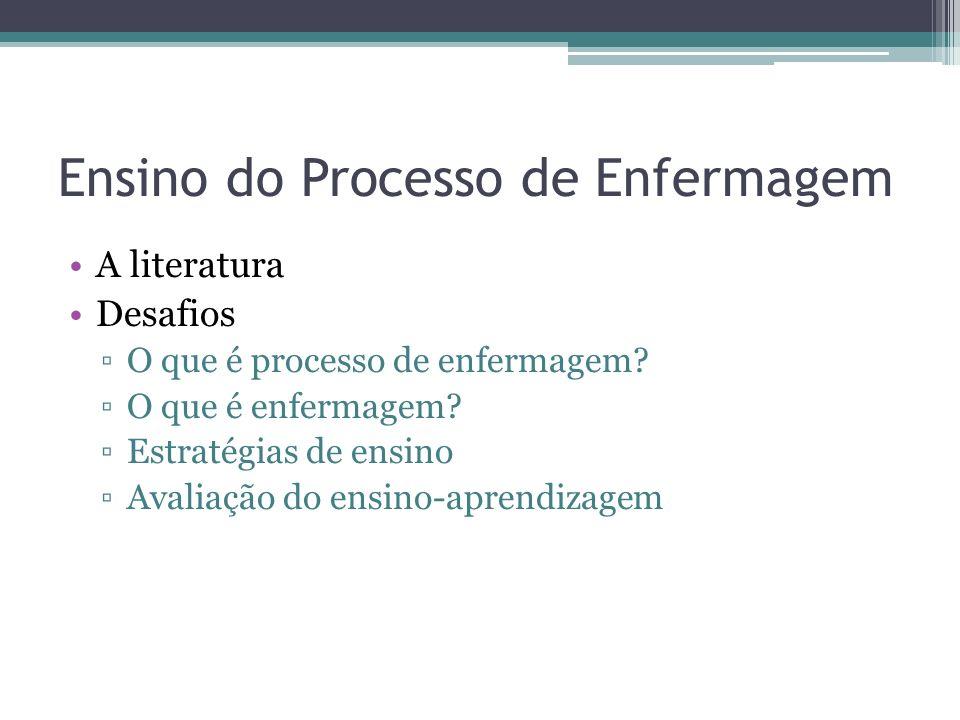 Ensino do Processo de Enfermagem A literatura Desafios O que é processo de enfermagem? O que é enfermagem? Estratégias de ensino Avaliação do ensino-a