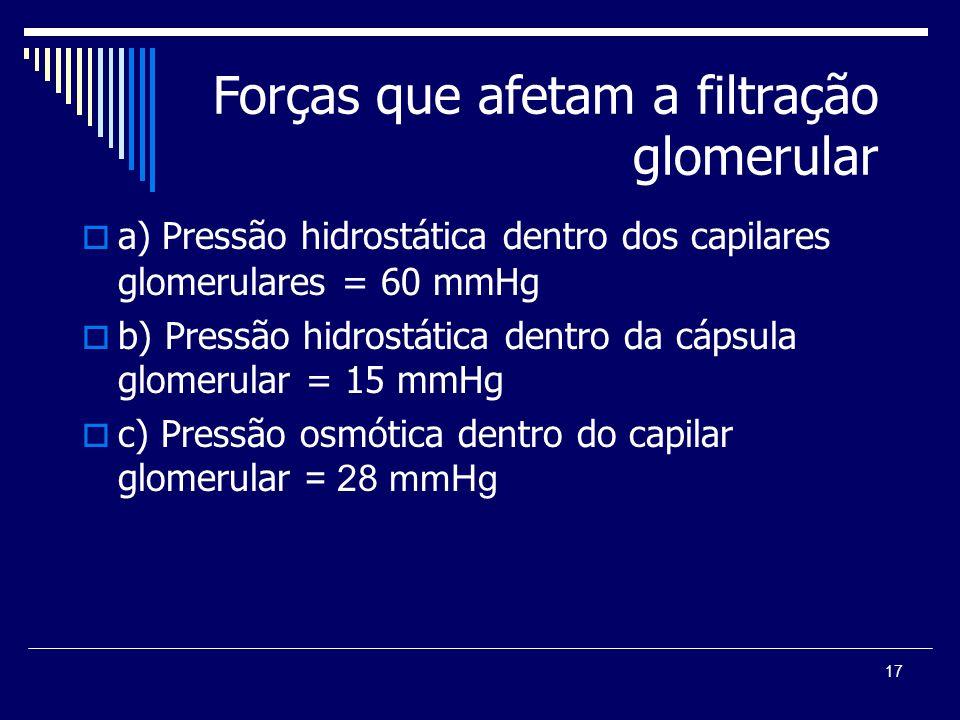 17 Forças que afetam a filtração glomerular a) Pressão hidrostática dentro dos capilares glomerulares = 60 mmHg b) Pressão hidrostática dentro da cáps