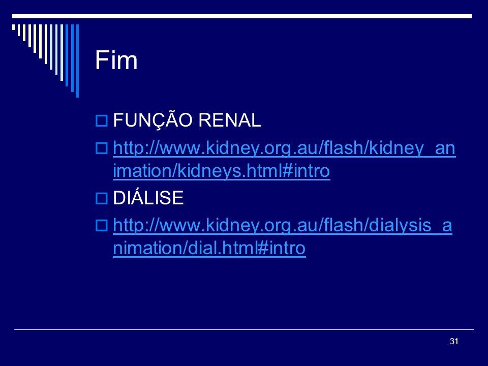 31 Fim FUNÇÃO RENAL http://www.kidney.org.au/flash/kidney_an imation/kidneys.html#intro http://www.kidney.org.au/flash/kidney_an imation/kidneys.html#