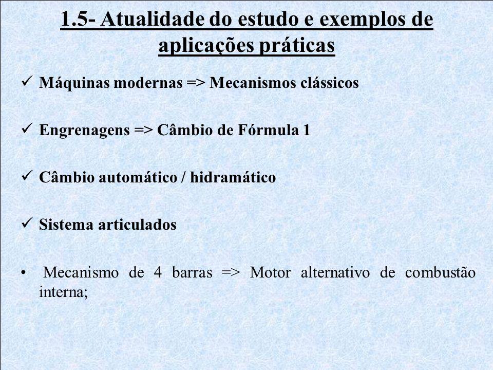 1.5- Atualidade do estudo e exemplos de aplicações práticas Máquinas modernas => Mecanismos clássicos Engrenagens => Câmbio de Fórmula 1 Câmbio automá