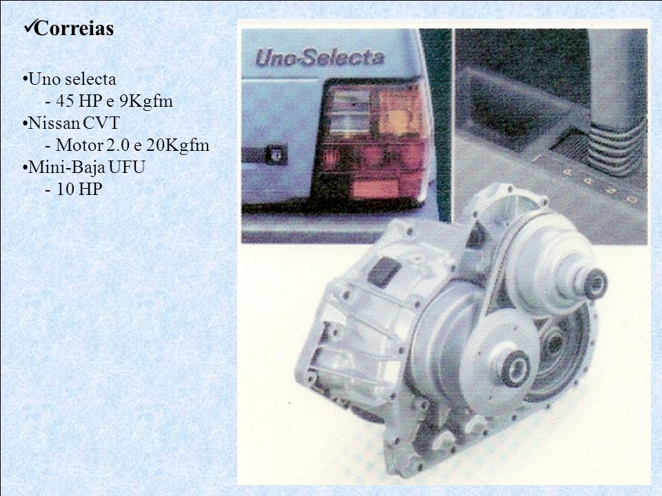Correias Uno selecta - 45 HP e 9Kgfm Nissan CVT - Motor 2.0 e 20Kgfm Mini-Baja UFU - 10 HP