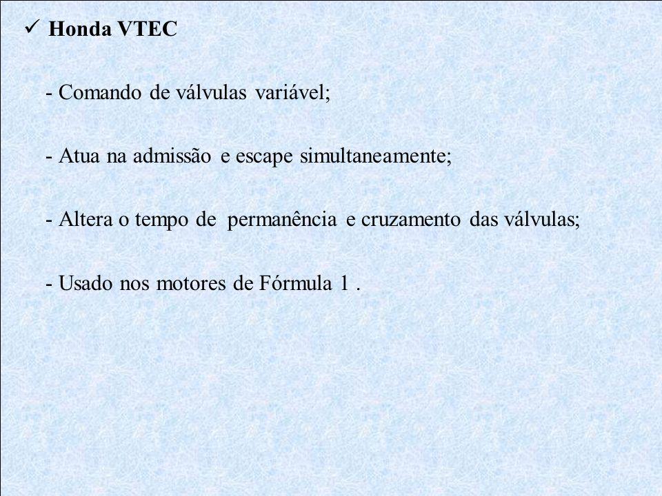 Honda VTEC - Comando de válvulas variável; - Atua na admissão e escape simultaneamente; - Altera o tempo de permanência e cruzamento das válvulas; - U