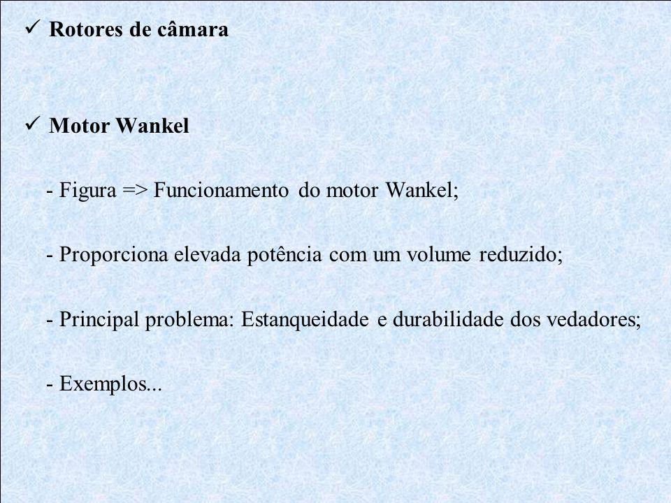 Rotores de câmara Motor Wankel - Figura => Funcionamento do motor Wankel; - Proporciona elevada potência com um volume reduzido; - Principal problema: