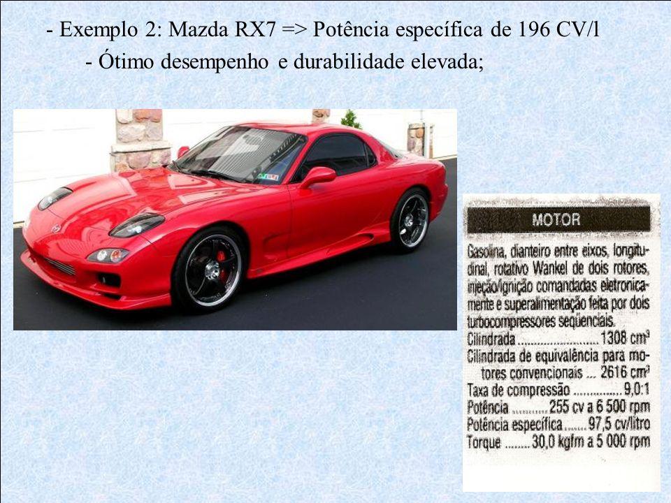- Exemplo 2: Mazda RX7 => Potência específica de 196 CV/l - Ótimo desempenho e durabilidade elevada;
