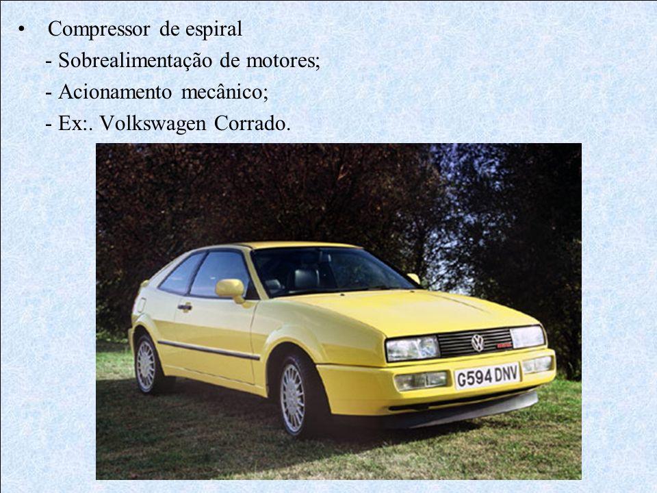Compressor de espiral - Sobrealimentação de motores; - Acionamento mecânico; - Ex:. Volkswagen Corrado.