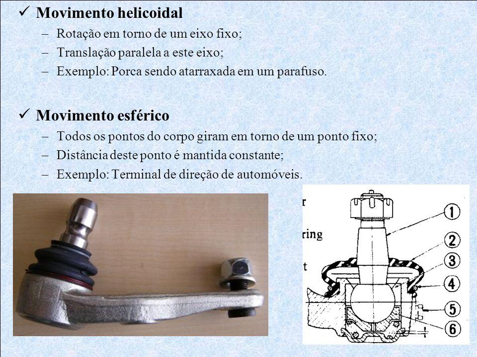 Movimento helicoidal –Rotação em torno de um eixo fixo; –Translação paralela a este eixo; –Exemplo: Porca sendo atarraxada em um parafuso. Movimento e