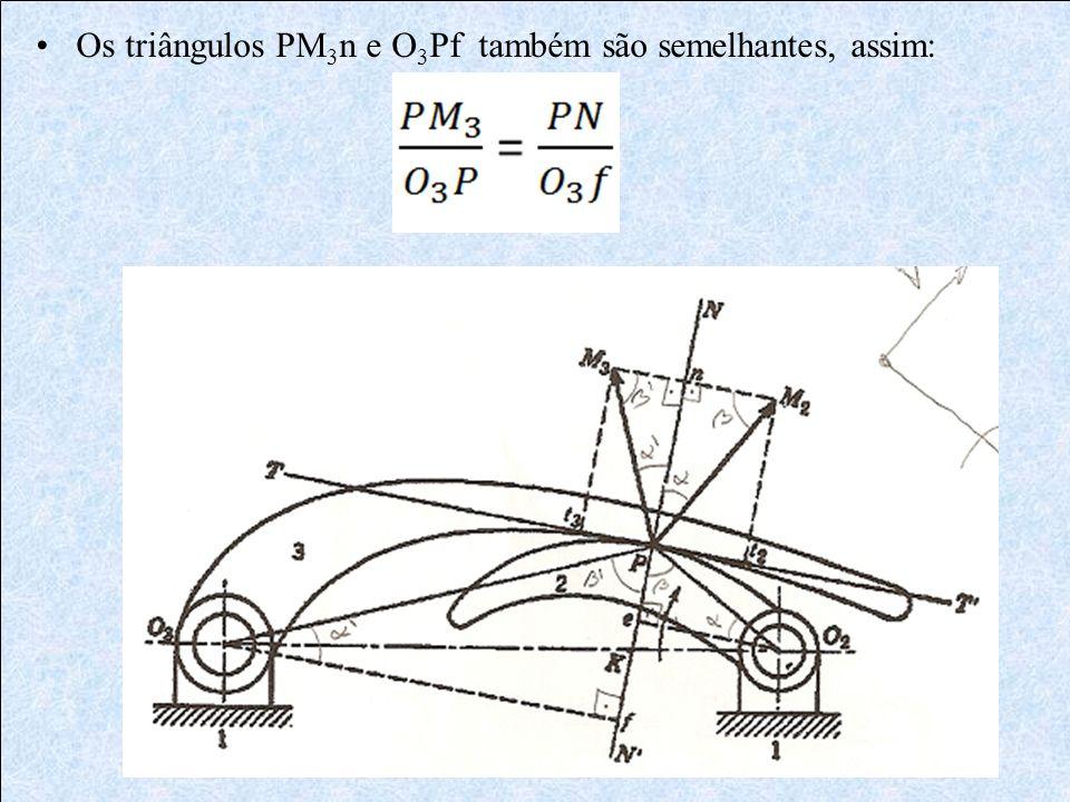Os triângulos PM 3 n e O 3 Pf também são semelhantes, assim: