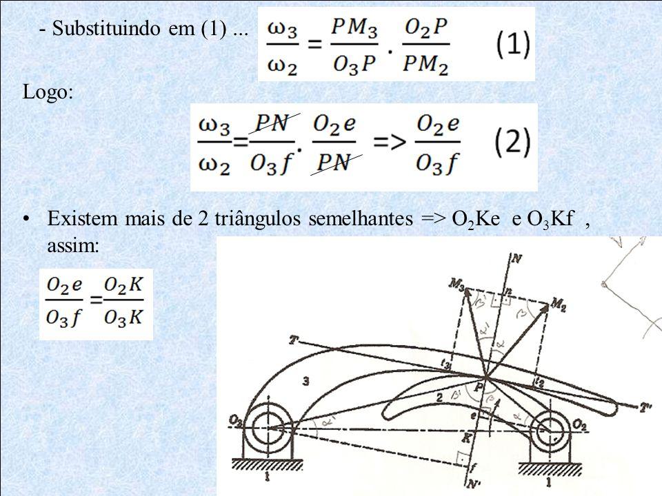 - Substituindo em (1)... Logo: Existem mais de 2 triângulos semelhantes => O 2 Ke e O 3 Kf, assim: