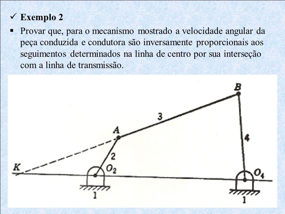 Exemplo 2 Provar que, para o mecanismo mostrado a velocidade angular da peça conduzida e condutora são inversamente proporcionais aos seguimentos dete