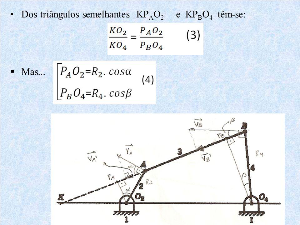 Dos triângulos semelhantes KP A O 2 e KP B O 4 têm-se: Mas...