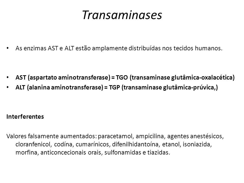 Transaminases As enzimas AST e ALT estão amplamente distribuídas nos tecidos humanos. AST (aspartato aminotransferase) = TGO (transaminase glutâmica-o