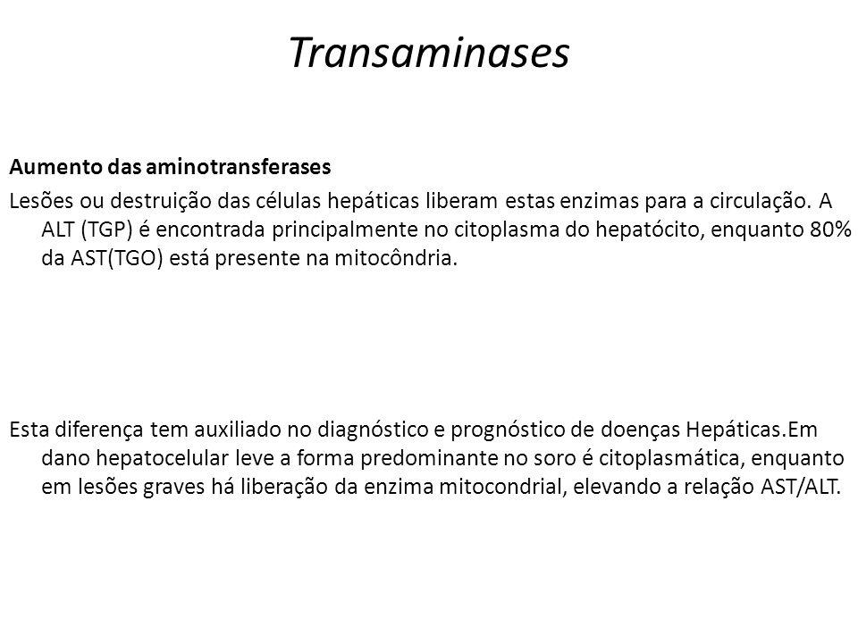Transaminases Aumento das aminotransferases Lesões ou destruição das células hepáticas liberam estas enzimas para a circulação. A ALT (TGP) é encontra
