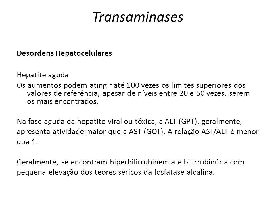 Transaminases Desordens Hepatocelulares Hepatite aguda Os aumentos podem atingir até 100 vezes os limites superiores dos valores de referência, apesar