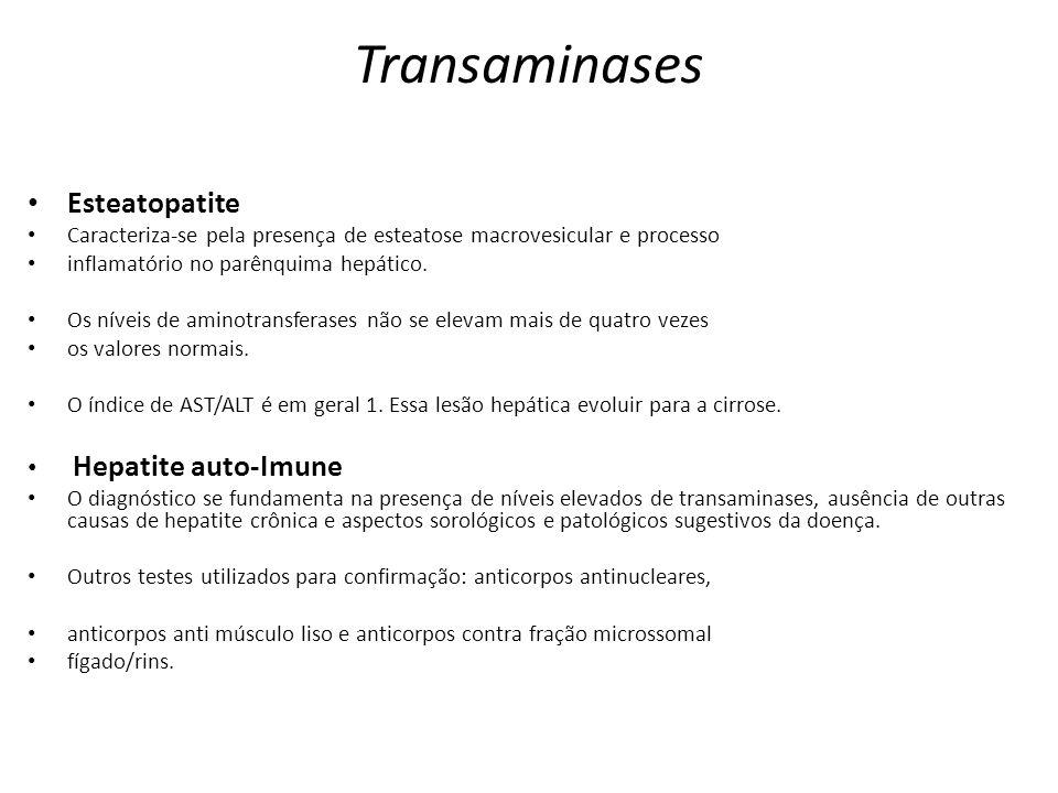 Transaminases Esteatopatite Caracteriza-se pela presença de esteatose macrovesicular e processo inflamatório no parênquima hepático. Os níveis de amin