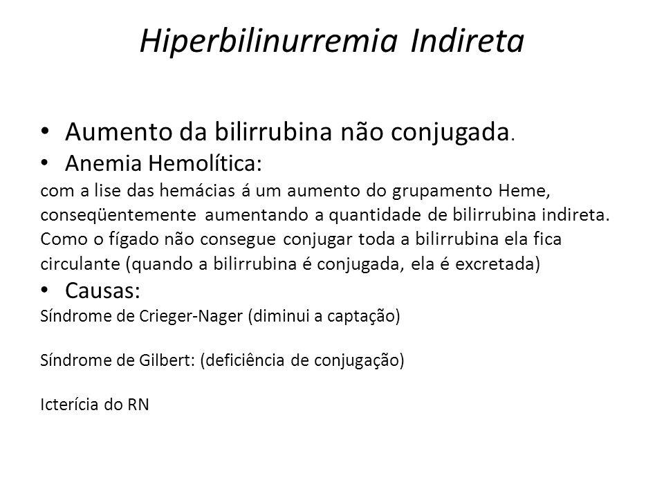 Hiperbilinurremia Indireta Aumento da bilirrubina não conjugada. Anemia Hemolítica: com a lise das hemácias á um aumento do grupamento Heme, conseqüen