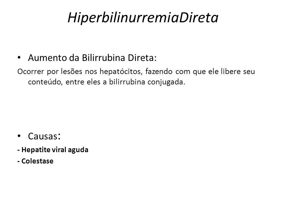 HiperbilinurremiaDireta Aumento da Bilirrubina Direta: Ocorrer por lesões nos hepatócitos, fazendo com que ele libere seu conteúdo, entre eles a bilir