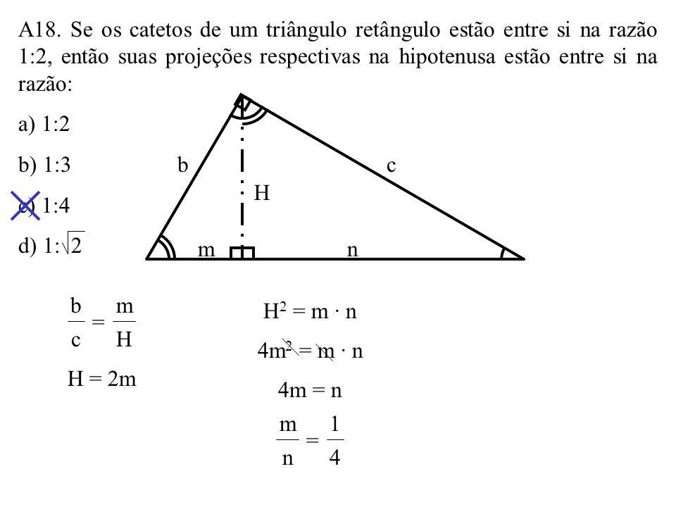 A17. Na figura, o quadrado AMNP está inscrito no triângulo ABC. Se AB = 3 e BC = 3 5, o lado do quadrado mede: a) 1,8 b) 2 c) 2,2 d) 2,4 AC P N M B x