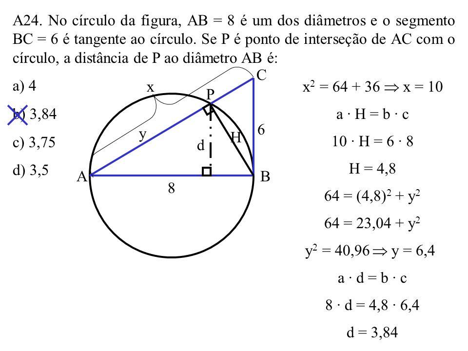 A23. Uma corda de um círculo é perpendicular a um de seus diâmetros e o divide em dois segmentos proporcionais a 1 e 4. A razão entre o comprimento da