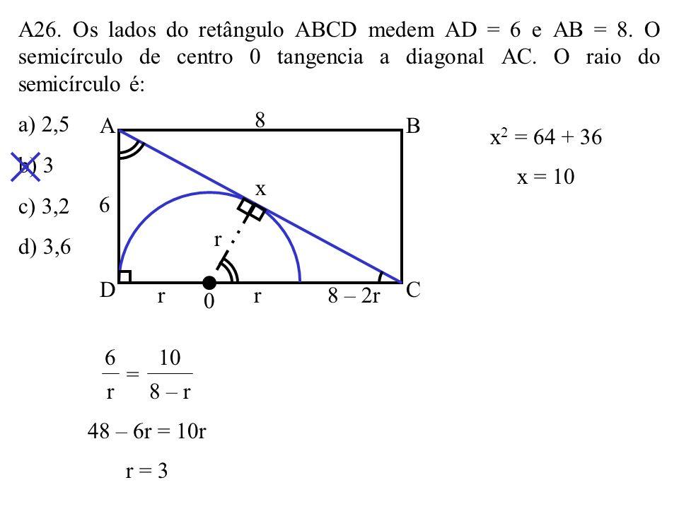 A25. Na figura, AB é um diâmetro do círculo de centro 0 e PB é tangente a ela. PC = 8 e CA = 10. Calcule: a) o raio do círculo. b) a distância do pont