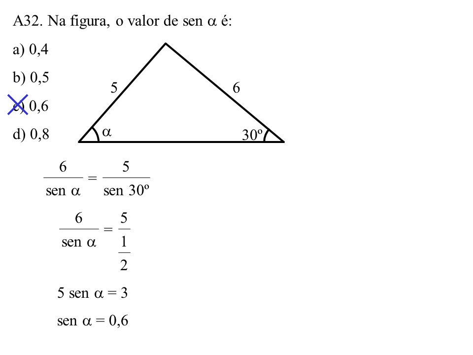A31. Dois lados de um triângulo medem 6cm e 8cm e formam, entre si, um ângulo de 120º. A medida do outro lado do triângulo é: a) 2 37cm b) 117cm c) 2