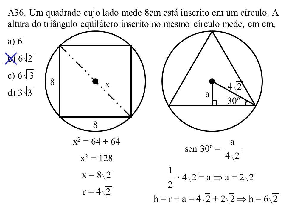 A35. Os lados de um triângulo ABC medem AB = 3, BC = 5 e AC = x, sendo B um ângulo obtuso. A soma dos possíveis valores inteiros de x é: a) 13 b) 15 c