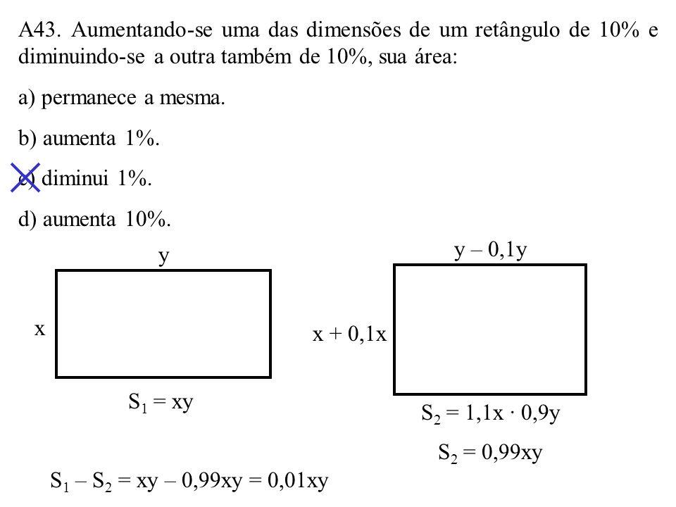 A42. Dois lados de um retângulo medem 3cm e 6cm. A diagonal do quadrado equivalente a esse retângulo mede: a) 4cm b) 4,8cm c) 5,4cm d) 6cm S retângulo