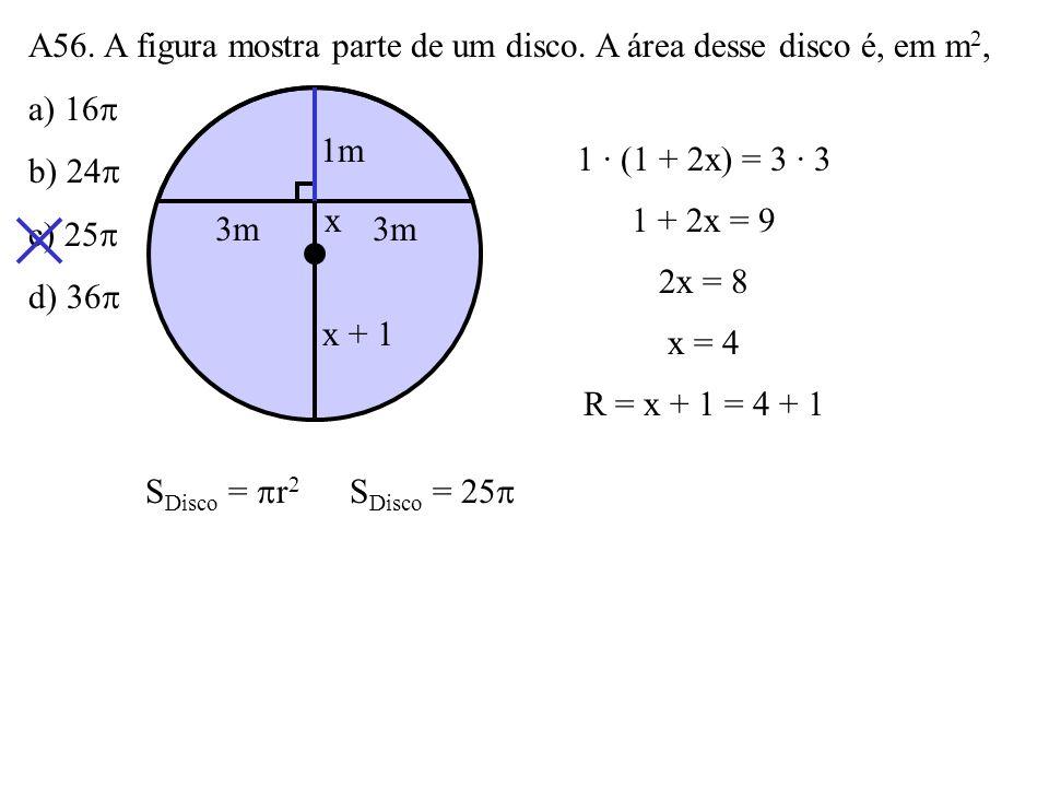 A55. A área do quadrilátero da figura é: a) 14 3 b) 12 3 c) 22 d) 24 6 4 8 60º 2 4S Quadri. = l 2 3 4 – 4 · 2 · sen 60º 2 S Quadri. = 64 3 4 – 4 3 2 S